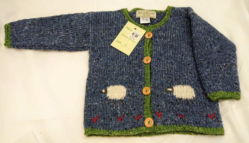 Julie Dillon Kids Knitted Cardigan - Blue with Sheep