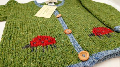 Julie Dillon Kids Knitted Wool Cardigan - Green Ladybugs