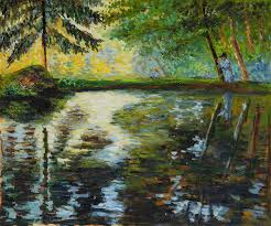 Liz Christy Scarf - The Pond at Montgeron - Morris Green